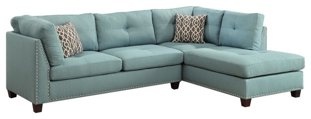 ACME Laurissa L Shape Sectional Sofa with Ottoman in Green Linen