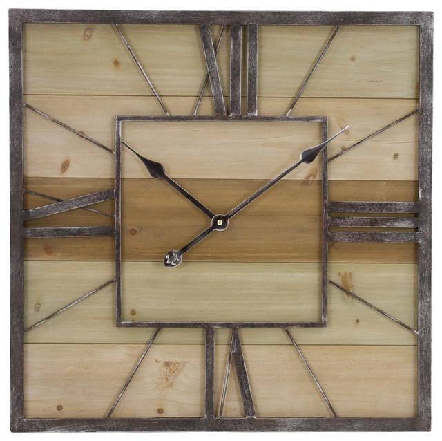 ef44f26b27cf Travis Wood and Metal Wall Clock - Farmhouse - Wall Clocks - by Aspire Home  Accents, Inc.