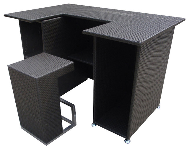 Outdoor Wicker Resin 4 Piece Bar Table And Stool Set