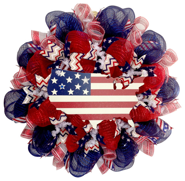 This Land Is Your Land Stars And Stripes Patriotic Deco Mesh Handmade Wreath.