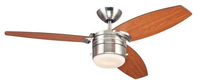 """Lavada Fan, Brushed Nickel Reversible Blades With Light Fixture Included, 48""""."""