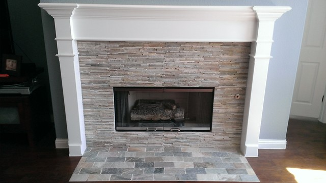 Fireplace Mini Ledger Stone Wall Brick Pattern Hearth Contemporary