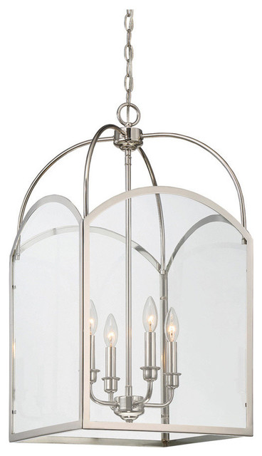 "Garrett 28.25"" Four Light Foyer Polished Nickel Clear Glass."