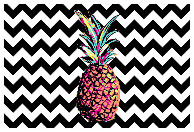 Memory Foam Bath Mat Party Pineapple Chevron Tropical