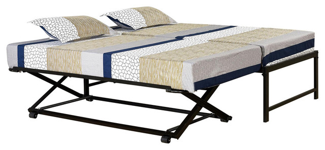 Tiverton Daybed Bed Frame With Pop Up Trundle Set Black
