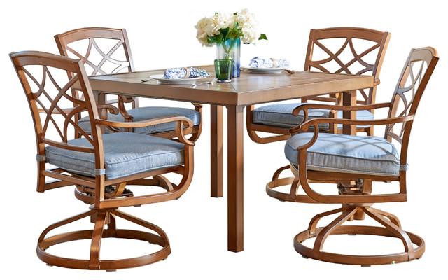 "Trisha Yearwood Outdoor 42"" Table, Swivel Rocking Chairs, 5-Piece Set, Denim."