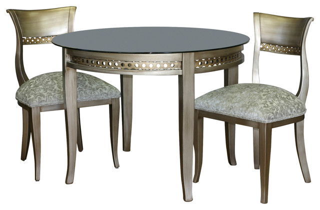 Alexus Round Glass Top Table Antique Silver Transitional Dining Tables By Moretti S Design Collection Inc
