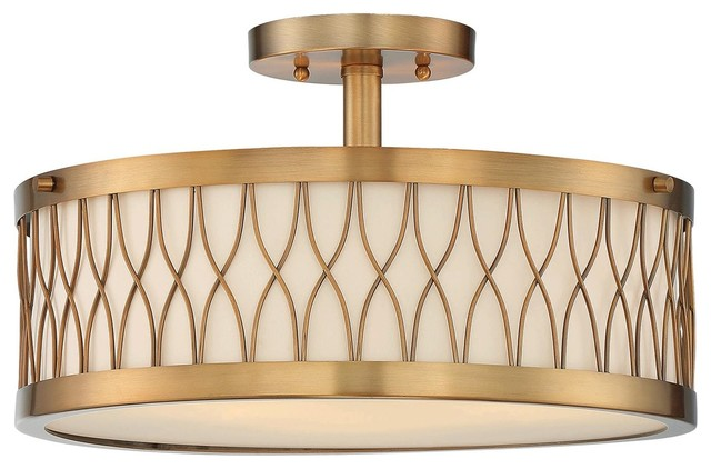 Savoy House Spinnaker Semi-Flush, Warm Brass.