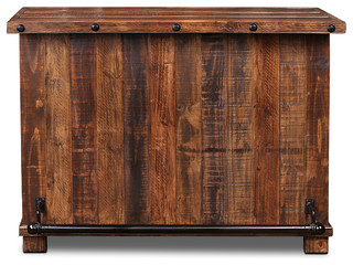 Delicieux Westgate Solid Wood Rustic Bar With Wine Cabinet And Iron Foot Rest   Rustic    Wine And Bar Cabinets   By Crafters And Weavers
