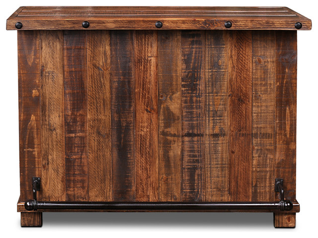 Westgate Solid Wood Rustic Bar With Wine Cabinet And Iron