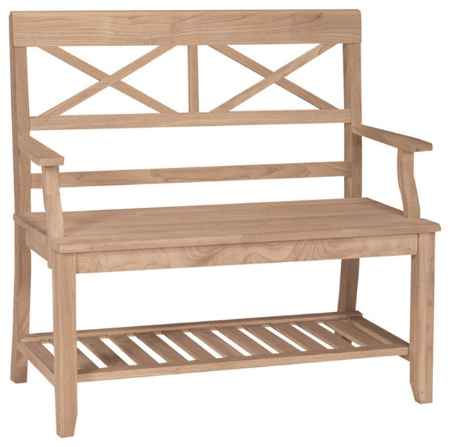 Double X Back Unfinished Bench W Arm U0026 Shelf Contemporary Accent And