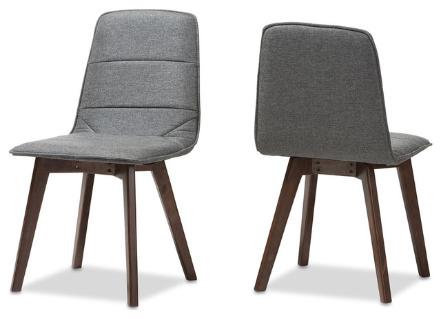 Karalee Mid Century Modern Dark Gray Fabric Upholstered Dining Chair Set Of 2 Midcentury Dining Chairs By Shopladder