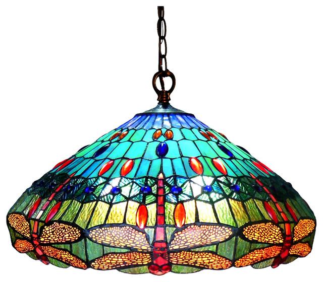 "Scarlet, Tiffany-Style 3 Light Dragonfly Hanging Pendant Lamp, 24"" Shade."
