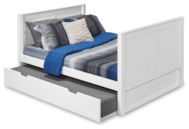 Camaflexi Full Platform Bed Tall With Twin Trundle, Panel Headboard, White.