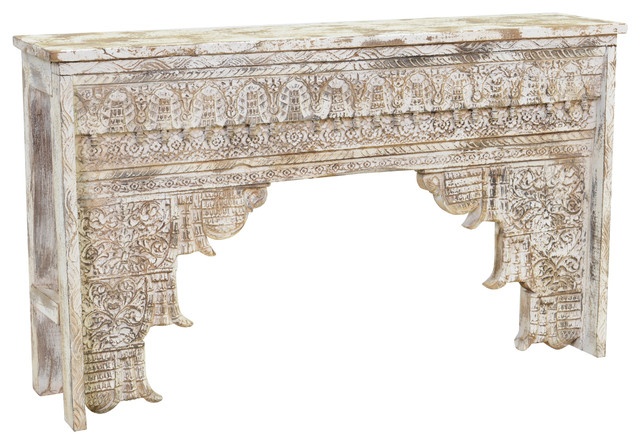 Kosas Home Ariel Antique White Mango Wood Console Table Mediterranean  Console Tables