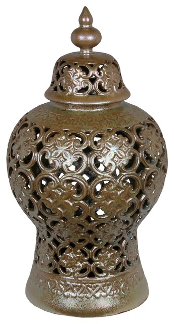 Privilege Large Ceramic Vase, Chocolate Finish