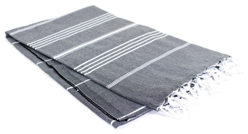 Black With White Stripes Turkish Towel