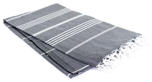 Black With White Stripes Turkish Towel