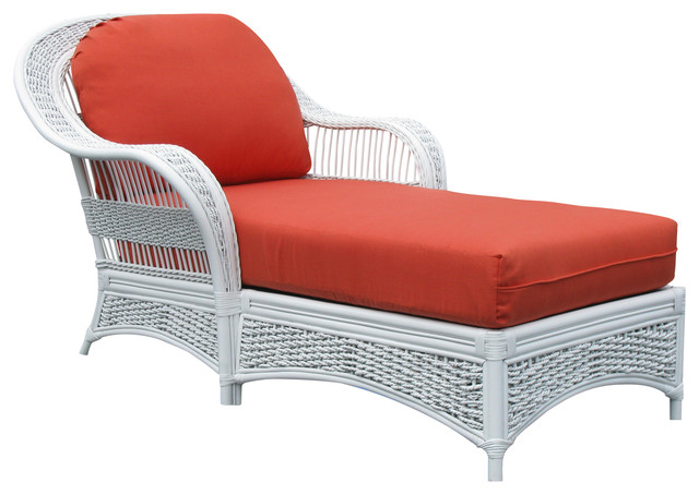 Spice islands wicker regatta chaise lounge in white for Black and white striped chaise lounge cushions