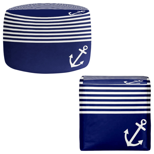 DiaNoche Pouf Chair Foot Stool By Organic Saturation Navy Blue Love Fascinating Anchor Pouf