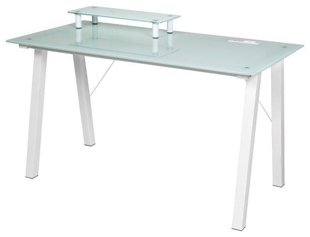 Onespace Simply Glass Desk With Desktop Printer Stand And Usb And A/c Charging.