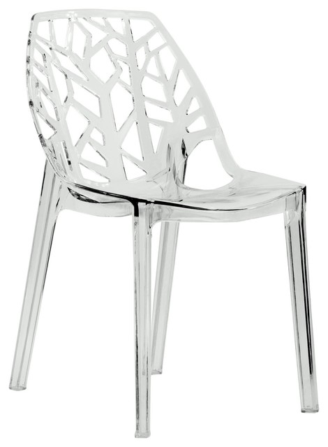 Leisuremod Modern Cornelia Clear Dining Chair