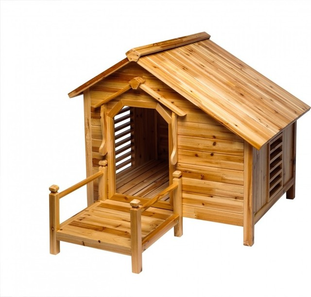 Wood Dog House Outdoor Wooden Pet Shelter Bed Medium With Porch