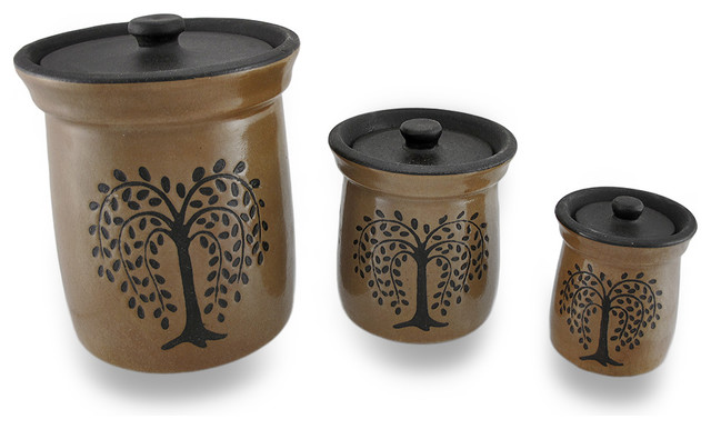 Crackled Finish Brown Olive Tree Porcelain Canisters, 3 Piece Set  Traditional Kitchen