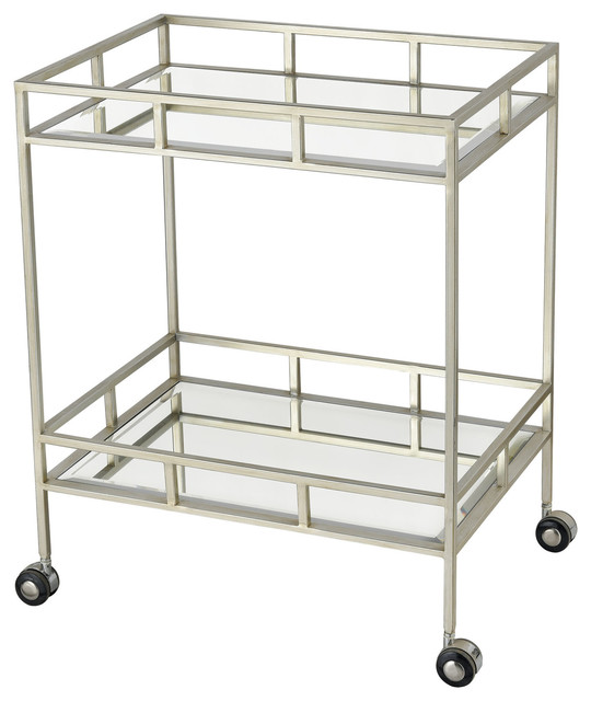 """Elk Home 1114-318 The Nines 24 """" Wide Metal Frame Bar Cart with Mirrored Shelve"""