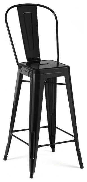 Miraculous Dreux Glossy Steel High Back Bar Stools 30 Set Of 4 Matte Black Forskolin Free Trial Chair Design Images Forskolin Free Trialorg