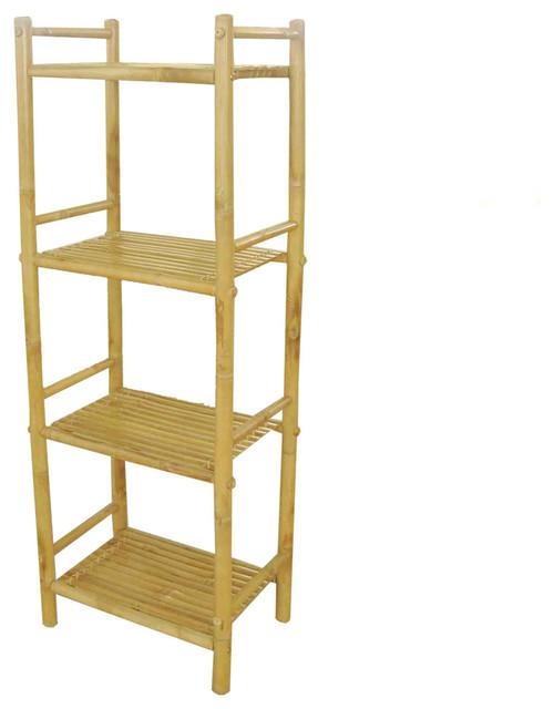 Zero Emission World, Inc Bamboo 4 Tier Shelf - Display And Wall Shelves | Houzz