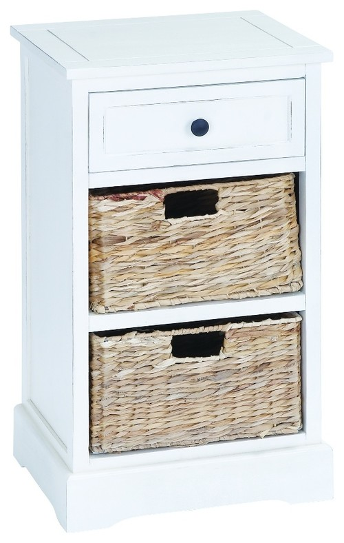 Wood Cabinet 1 Drawer 2 Baskets White Accent Table Furniture Decor