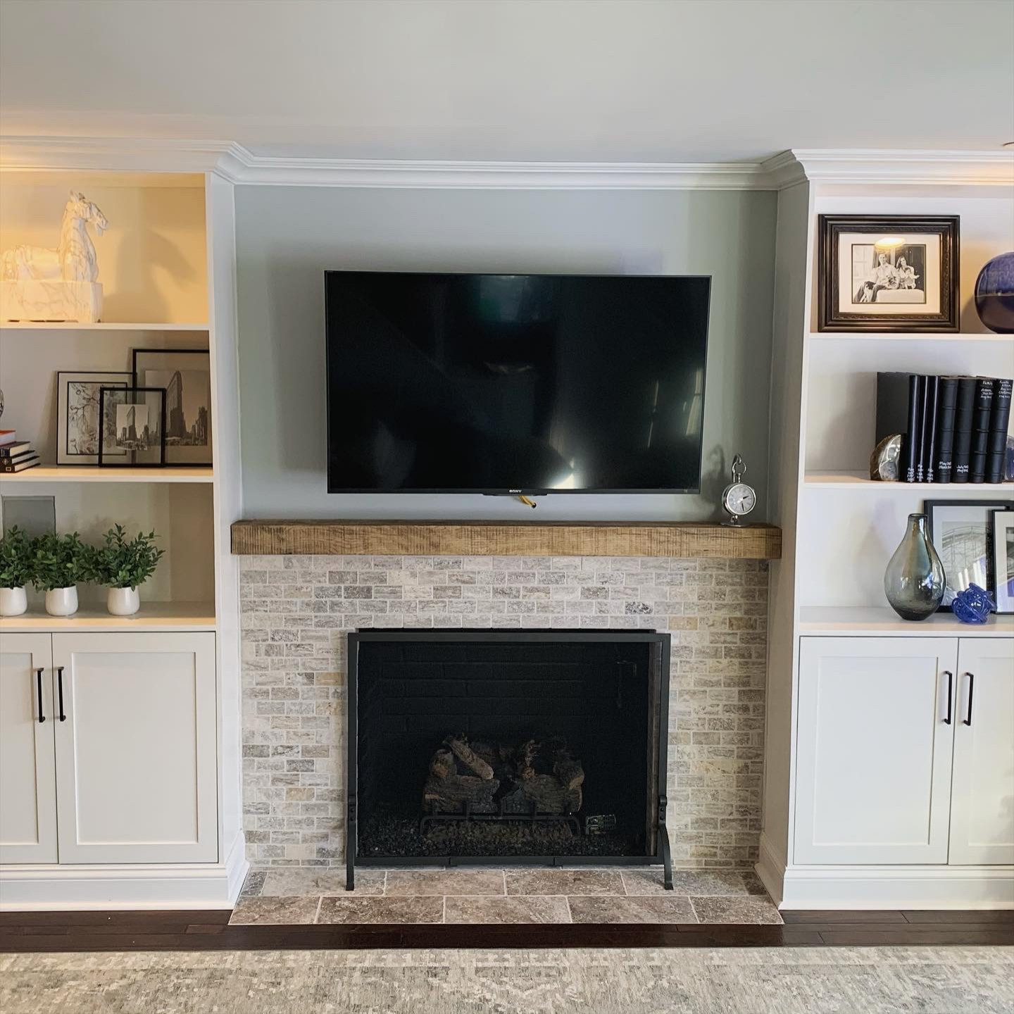 Custom built in bookcase/fireplace and hearth area