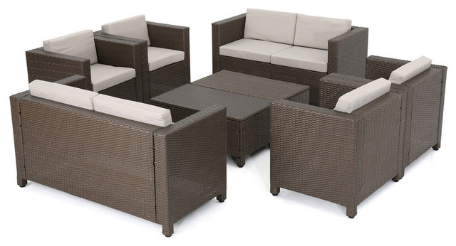 GDF Studio 8-Piece Patagonia Outdoor Wicker Chat Set With Cushions