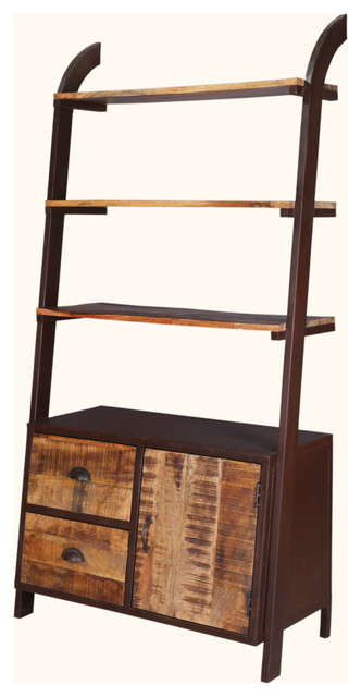 """Industrial Leaning 70"""" Rustic Mango Wood & Iron Open Back Wall Unit."""