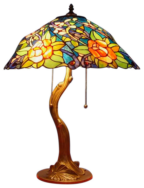 Serena D&x27;italia Tiffany 2-Light Rose Styled 23 Table Lamp.