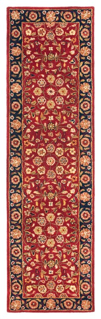 Roseau Hand Tufted Rug, Red/navy, 2&x27;3x18&x27;.