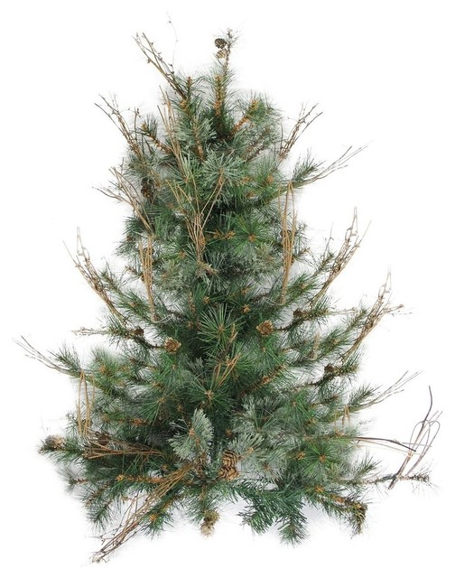 """Country Mixed Pine Artificial Christmas Wall Or Door Tree, Unlit, 3&x27;x28""""."""