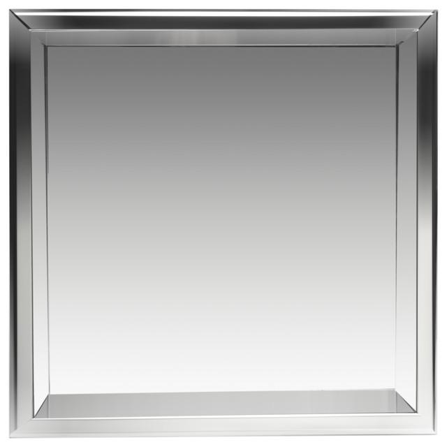 "Square Single Shelf Bath Shower Niche, 16""x16"", Polished Stainless Steel"