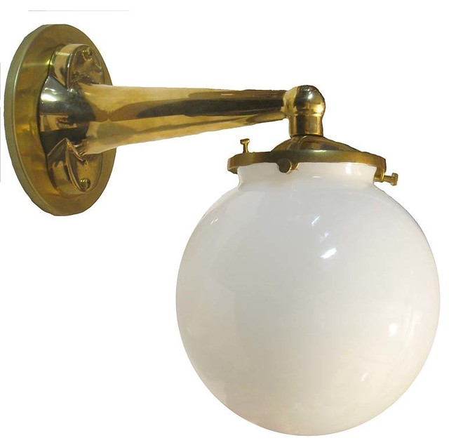 Round Ball Wall Sconce w/ Opal Glass Globe, Unlacquered Brass, Interior Fixture