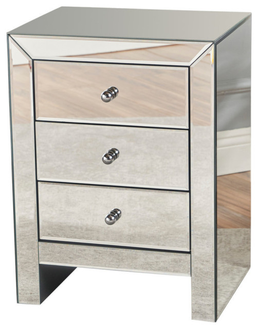GDF Studio Lucille Mirror Finished 3-Drawer Accent Table