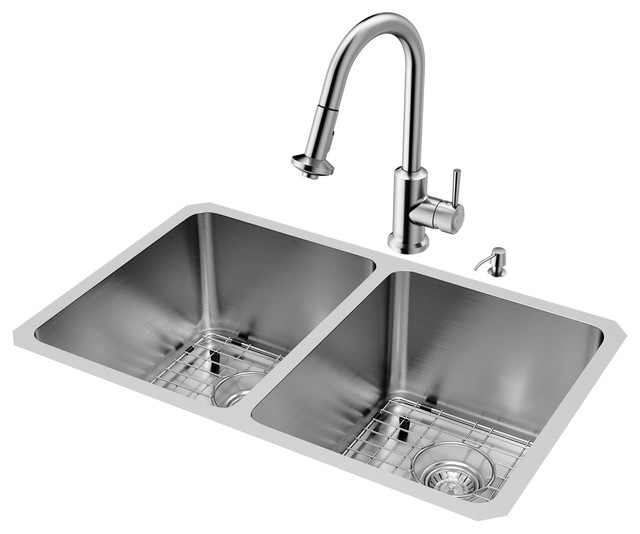 "Vigo All-In-One 29""x18"" Newhall Double Bowl Undermount Kitchen Sink Set."