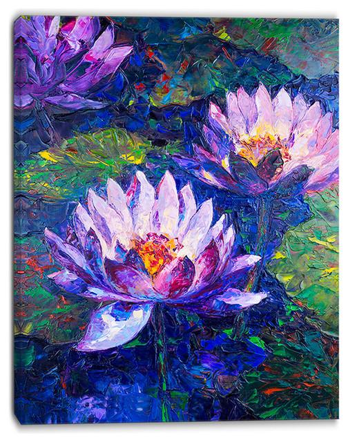 """blue Lotus Oil Painting"" Floral Canvas Print, 32""x16""."
