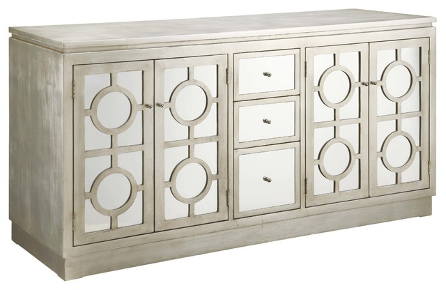 Circles Silver Finished Mirrored 3-Drawer/4-Door Buffet Cabinet ...