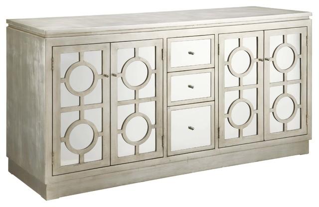 Superbe Crestview Circles Silver Cabinet CVFXR758B
