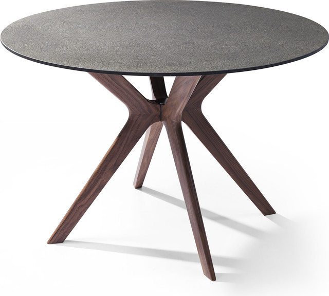 Redondo Round Dining Table Gl And Stone Top Midcentury