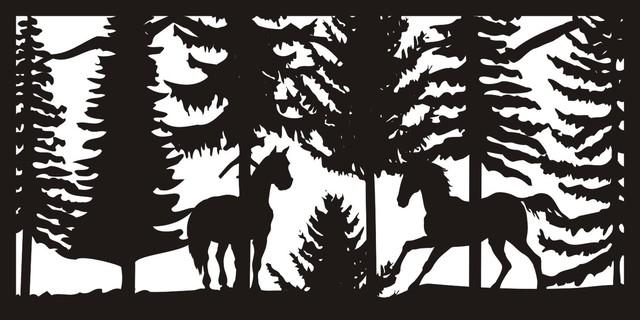 """Two Horses Panel Ii, 30""""x60""""."""