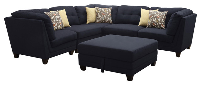 Coaster Keaton Corner, Midnight Blue 503452 Contemporary Sectional Sofas