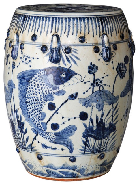 Awe Inspiring Vintage Style Blue And White Porcelain Garden Stool Fish Koi Motif Hand Painted Andrewgaddart Wooden Chair Designs For Living Room Andrewgaddartcom