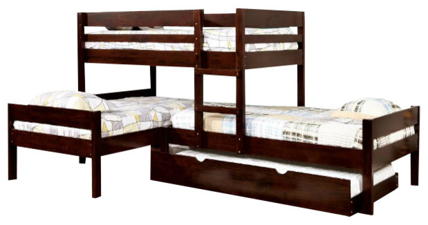 Maxwell Twin Size Low Corner Triple Bunk Bed, Standard Twin Size Trundle.